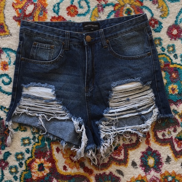 PrettyLittleThing Pants - NWOT PLT Distressed High-Waisted Cut-Off Shorts